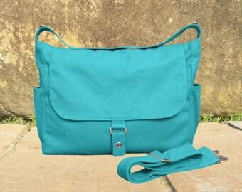 turquoise messenger bag, shoulder bag, diaper bag, ipad bag for men and women