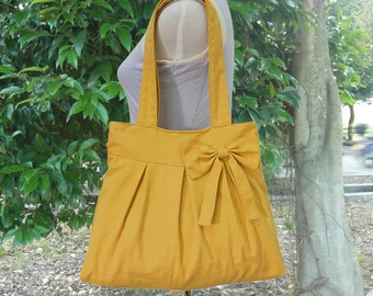 Golden cotton canvas tote bag / shoulder bag / hand bag / diaper bag / canvas purse- zipper closure
