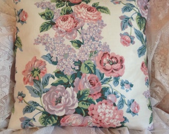 pillow cover Vintage Waverly Chintz /polished cotton Beautiful shabby chic colors