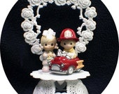 Fire Engine Precious Moments Adroable Firefighter Cake Topper Fireman heart Hero retired Funny