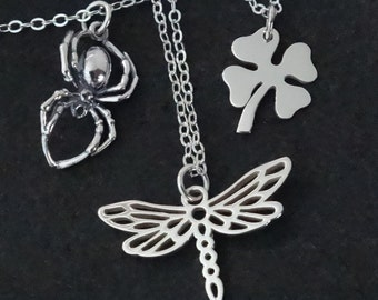 Spider Dragonfly Four Leaf Clover Necklace / Sterling Silver / Shamrock Lucky Charm Spider Pendant Insect Beautiful Cute Fun Luck