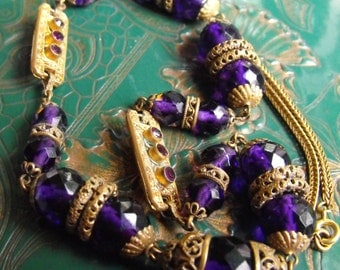Deep vibrant Czech crystal purple necklace  Gilded Brass filigree rings and caps Deco beads necklace