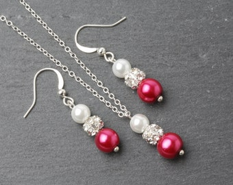 Fuchsia Bridesmaid Jewelry Set, Fuchsia earrings and necklace set, Magenta Fuchsia wedding jewelry set, bridesmaid gift, Pink pearl jewelry