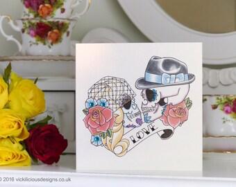 50's Bride and Groom Sugar Skull tattoo Valentine's Day handmade card