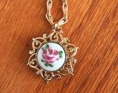 Victorian Revival Guilloch Enamel Rose Design Charm Necklace