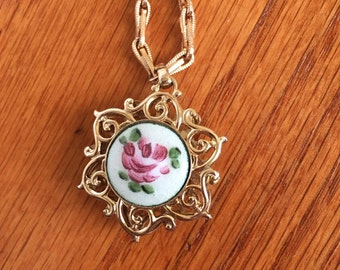 Victorian Revival Guilloch Enamel Rose Design Charm Necklace