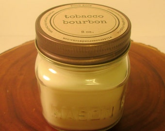 Tobacco Bourbon 8 oz. Soy Mason Jar Candle // Wood Wick // Fall/Holiday/Man Cave Scent
