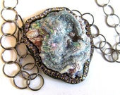 SUMMER SALE Titanium Chalcedony rosette Druzy and tanzanite necklace