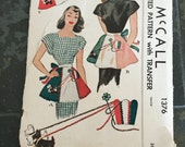1940s McCalls apron Pattern, vintage pattern McCall 1376, apron with dogs, apron pattern with transfers
