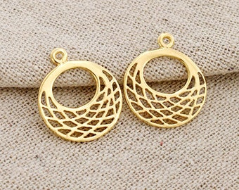 2 of 925 Sterling Silver 24k Gold Vermeil Style Filigree Disc Charms 17mm.  :vm0798
