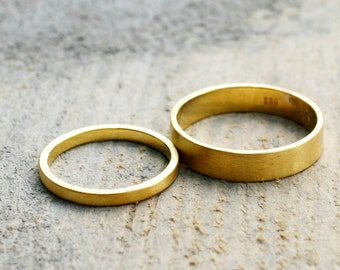 Fairmined yellow gold wedding rings, 18k
