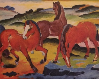 Red Horses Color Print by Franz Marc, 1911  from 1951 Book