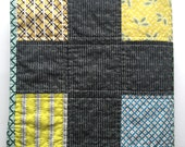 Modern Baby Boy Patchwork Plus Quilt in Aqua Blue Yellow Brown Green  -  Ready to ship!