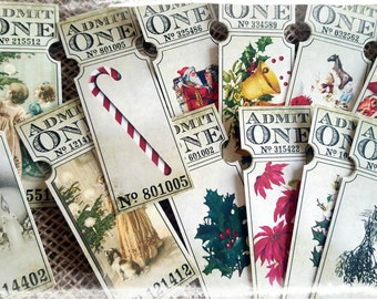 14 Assorted Christmas 'Admit One' Tickets
