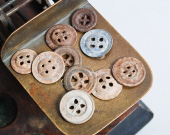 Set of 10 Antique original different buttons (n012)