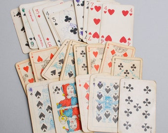 Set of 26 different  Vintage paper playing cards, old patina