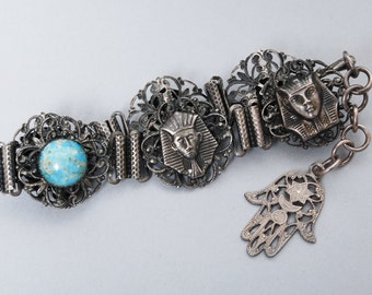 Vintage metal filigree bracelet, Egyptian decor with glass stones
