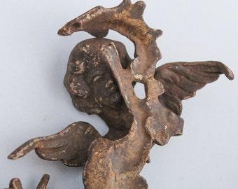 Antique brass angel embellishment, finding, decor