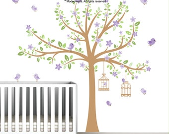 Tree Decal with Flowers, Birds, Bird Cages, Nursery Wall Decals, Wall Stickers, Vinyl Wall Decals, Tree Decal, Nursery Wall Art