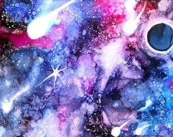 Alcohol Ink Art Work, Galaxy Art Print, ThresholdPaperArt, Alcohol Ink Painting, Celestial Wall Art, Blue Boho Decor, Modern Art, Planet Art