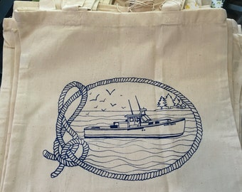 Lobster Boat Tote-Blue