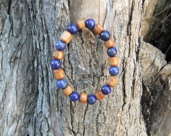 Olive Wood and lapis lazuli gemstone bracelet