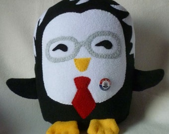 Plush Bernie  Sanders Penguin with Campaign Button,  Donate to Berniecrats or Jill Stein, Machine Wash and Dry