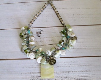 Statement Necklace with Teal, White, and Lime Beads, Beachy Ocean with Cute Shells and Chain Strand