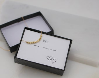 Morse Code BFF Necklace, Secret Message Necklace, Best Friend Jewelry, Friendship Gift, Sterling Silver or Gold Bead Necklace