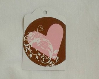 Up-Cycled Strawberry Pink Heart on Chocolate Brown Gift  Tag Set of 3