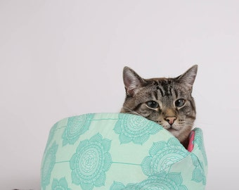 Cat Canoe modern pet bed in Teal Flower from the Cottage Wallpaper Collection
