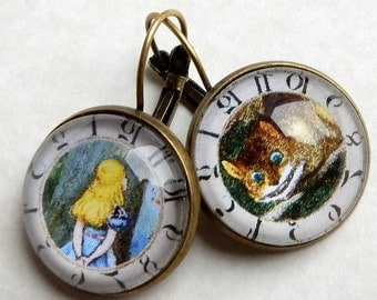 Alice and Cheshire Cat,  Cheshire Cat Earrings,  Alice in Wonderland Jewelry, We Are All Mad Here