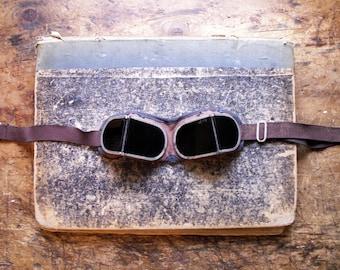 Vintage Cobalt Lens Welding Safety Glasses - Protective Goggles