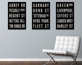 London England COLLECTION of 3 Subway Sign Prints. Bus Scrolls.