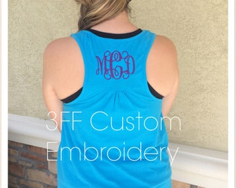 Personalized Monogrammed Ladies Gathered Racer Back Tank Top