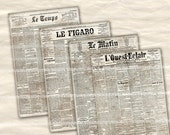 French Newspaper Pages Antique Newsprint Pages Digital Paper Clipart Printable Downloads for Backgrounds Depoupage Giftwrap Journals 745