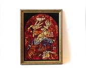 ON SALE Vintage rare large mid century modernist abstract stained glass tapestry, stained glass window