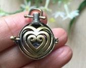 2pcs Antique Bronze Heart Prayer Box Ball Box Wish Box Locket Charm