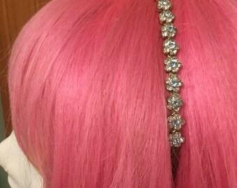 Vintage Diamond Style Headband / 1980's to 90's / Bejeweled / Flowers / Metal Headband