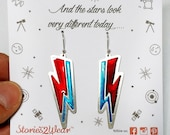 David Bowie Thunderbolt Earrings/Lightning Bolt Earrings/Ziggy Stardust Earrings/Thunder Earrings/Music jewellery/Engraved Enamel Earrings