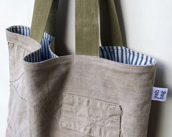 PATCH -reconstructed vintage french duffle, tote bag