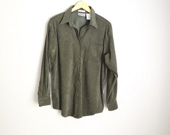 Vintage 90s Olive Green Oversized Long Sleeved Button Up Blouse Shirt Oxford Casual // womens medium
