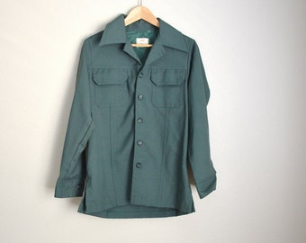 Vintage 70s  Levi's Panatela Forest Green Button Down Shirt //  mens small