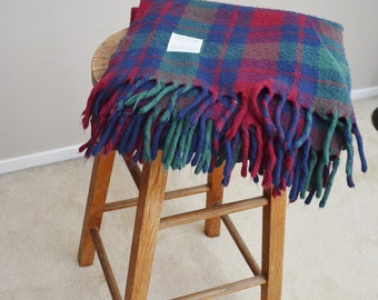 Vintage Acrylic Green Burgundy Red Blue Faribault Thrown Blanket with Fringe