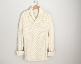 Vintage 70s Wool Ivory Shawl Neck Sweater // unisex // mens medium womens large