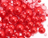 500pcs DIY Pearlized Flat Round Cabochons Mix size // Half pearl, Pearl Red, MG-SC03