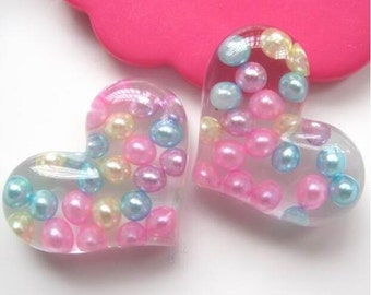 10 pcs of Clear Resin Heart Crafts Supplies Cameo 38x23mm Flat back