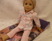 18 Inch  Doll Glittery Flannel Snowman Pajama Top and Pink Thermal Pajama Pants fits American Girl