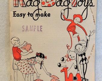 Vintage 1944 Pattern Book.. Rag Bag Toys.. Star Book 33 American Thread Co... Black Sambo Etc.