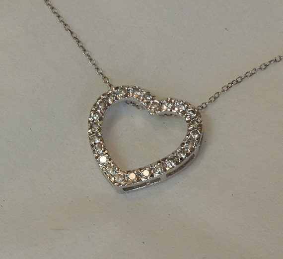"Vintage FAS Sterling Silver 925 & CZ 18"" Heart Necklace.. Italy (#20)"